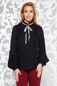 Fofy black office elegant women`s shirt flower shaped brestpin