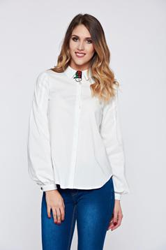 Fofy white women`s shirt office pointed collar accessorized with breastpin