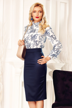 Fofy darkblue office high waisted pencil skirt