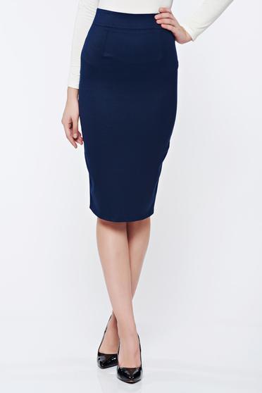 Fofy darkblue office high waisted pencil skirt