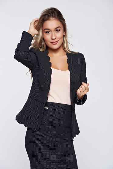 Fofy black office elegant tented jacket dots print