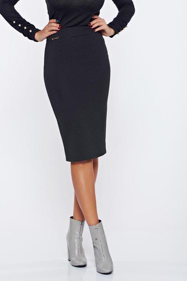 Fofy black office elegant skirt dots print