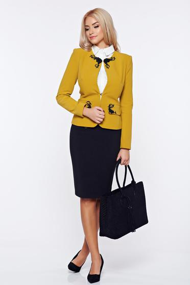 LaDonna yellow office cloth set embroidery details