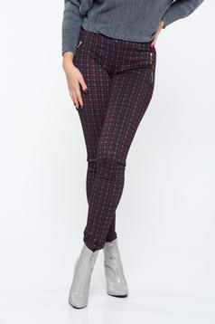 LaDonna conical burgundy office chequers trousers with medium waist