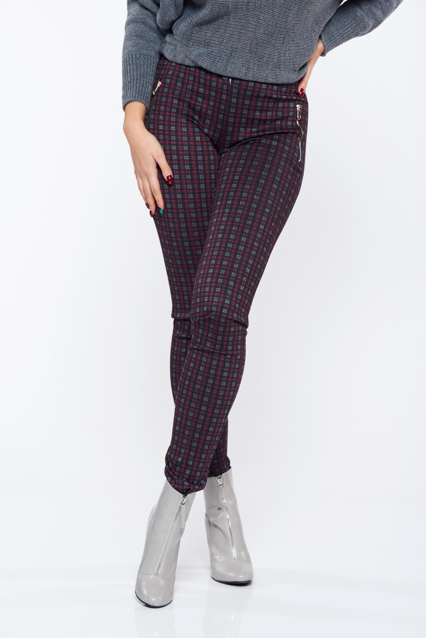 Pantaloni LaDonna visinii office conici cu talie medie carouri