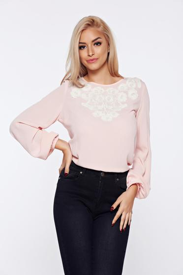 LaDonna flared embroidered rosa office women`s blouse