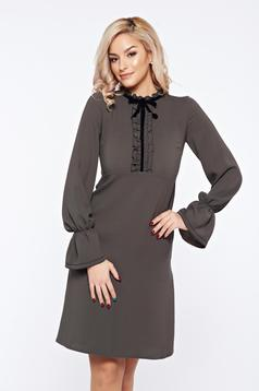 LaDonna darkgreen office elegant dress with ruffled sleeves