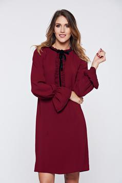 LaDonna burgundy office elegant dress with ruffled sleeves