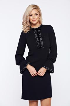 LaDonna black office elegant dress with ruffled sleeves