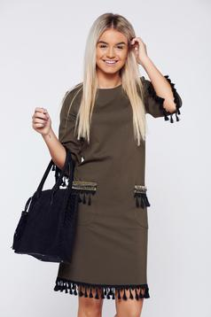 LaDonna darkgreen dress elegant daily with tassels