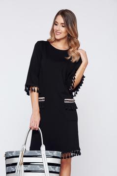LaDonna black dress elegant daily with tassels