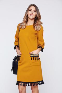LaDonna yellow dress elegant daily with tassels