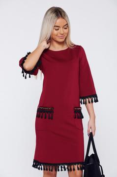 LaDonna burgundy dress elegant daily with tassels