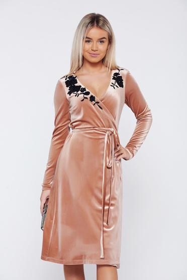 LaDonna cream dress occasional wrap around velvet with floral details