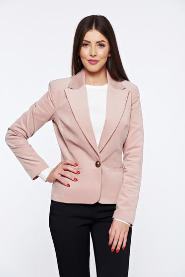 LaDonna rosa office velvet jacket with pockets