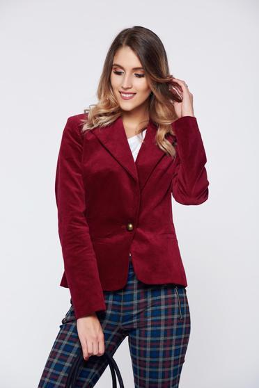 LaDonna red office velvet jacket with pockets