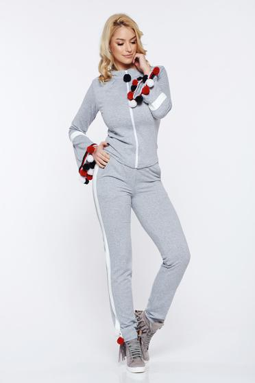 Ocassion grey casual set from 2 pieces with tassels