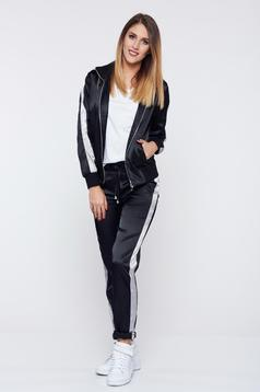 Ocassion black set casual from 2 pieces shiny fabric