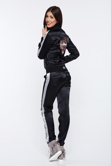 Ocassion black casual set from 2 pieces from shiny fabric