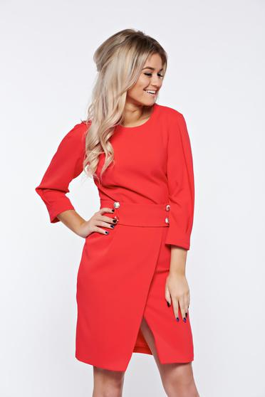 PrettyGirl coral dress office wrap around a-line accessorized with tied waistband
