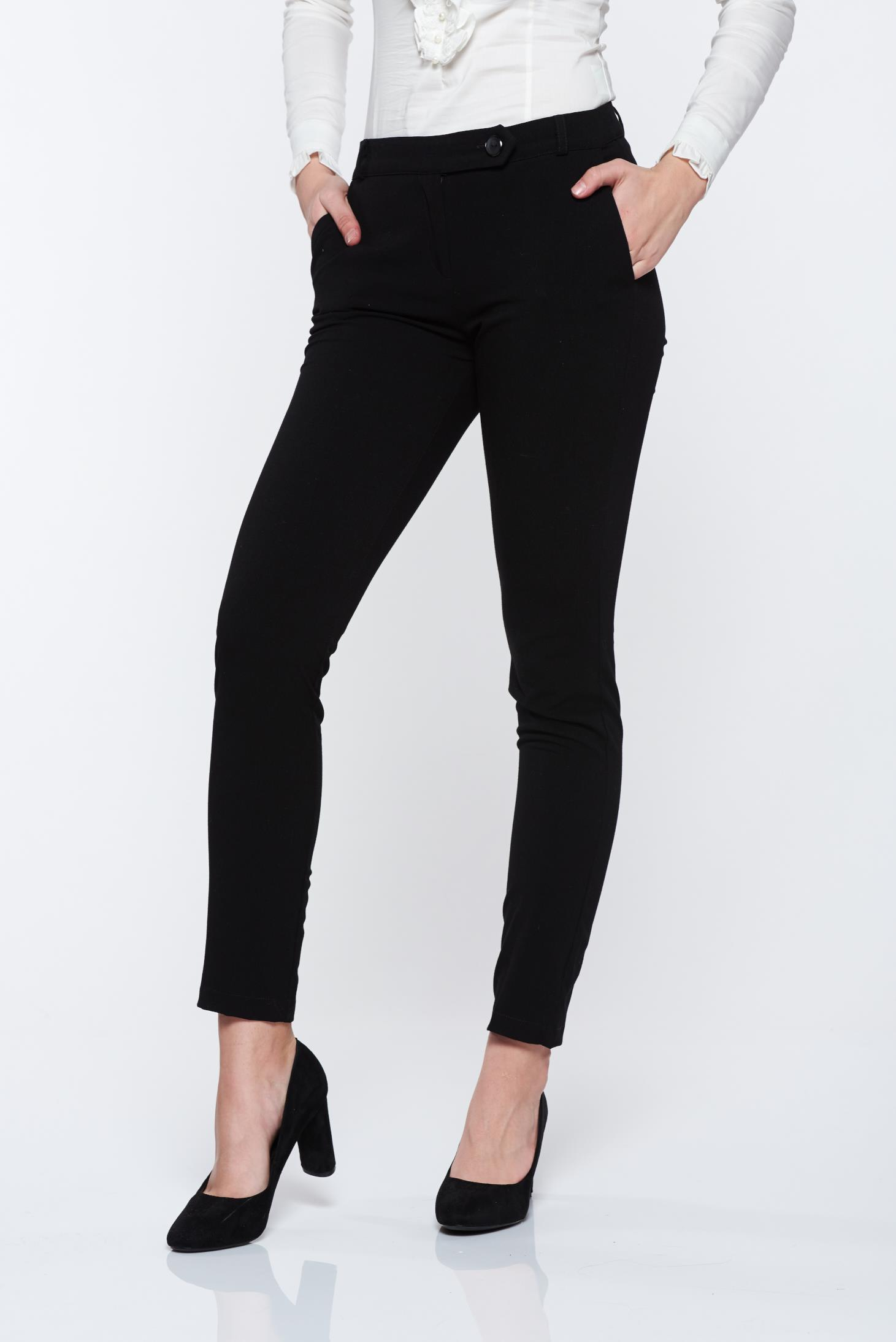 Pantaloni PrettyGirl negri office din stofa cu talie medie cu buzunare