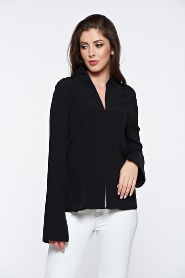 PrettyGirl black office women`s shirt with v-neckline high collar
