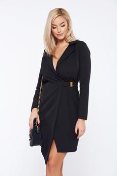 PrettyGirl black office elegant dress with metalic accessory