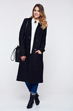 PrettyGirl black coat casual thick fabric with pockets