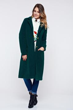 PrettyGirl darkgreen coat casual thick fabric with pockets