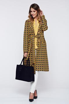 PrettyGirl yellow coat casual thick fabric with pockets