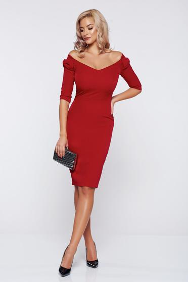 StarShinerS fall in love elegant red dress with bow shaped accessory