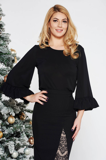 StarShinerS FALL in love office elegant bell sleeves black women`s blouse