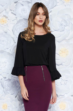 StarShinerS FALL in love office elegant bell sleeves black women`s blouse
