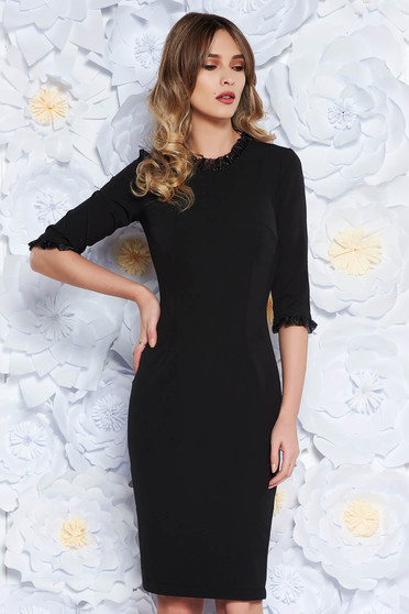 StarShinerS black elegant pencil dress with 3/4 sleeves