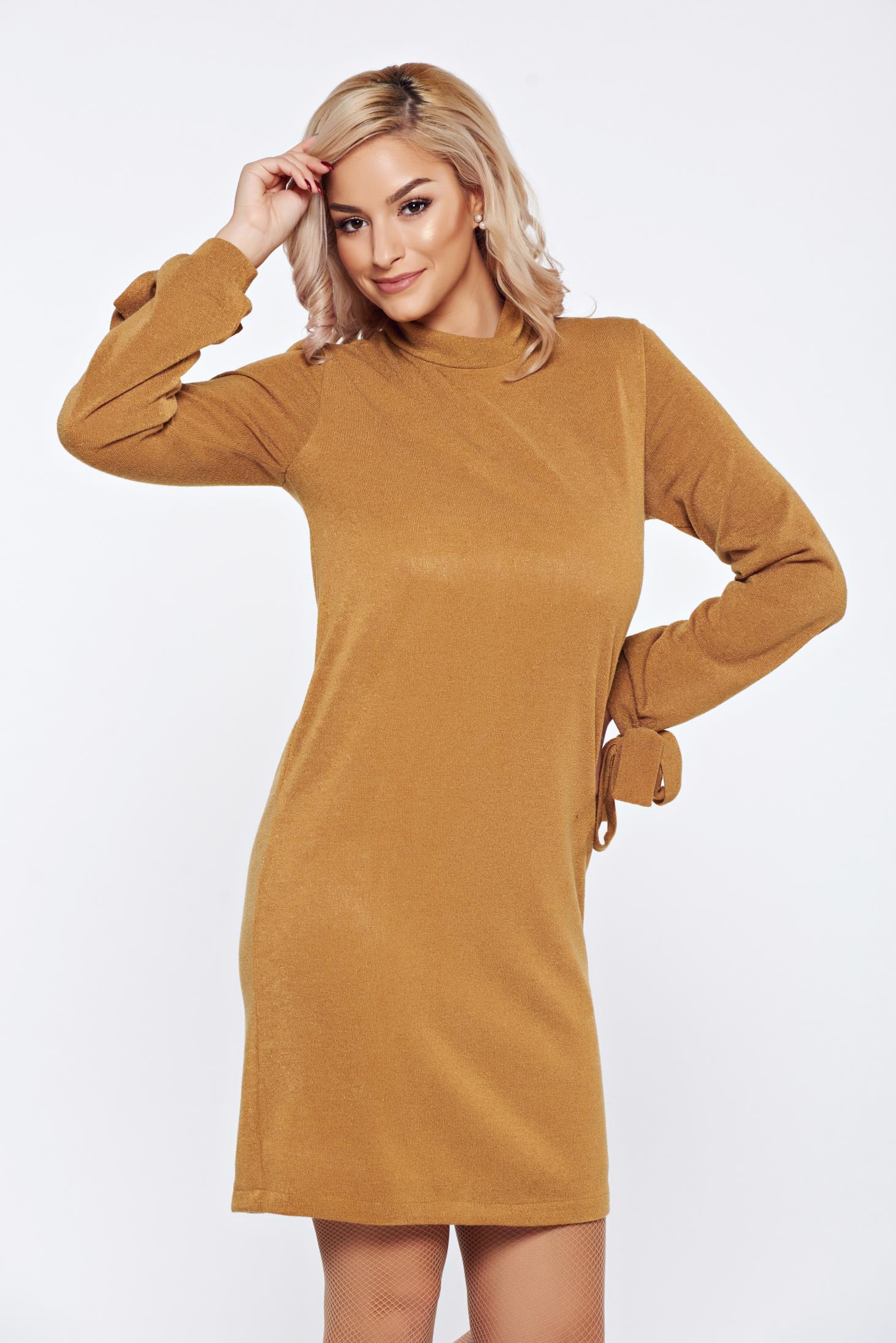 Rochie StarShinerS mustarie de zi tricotata cu croi larg captusita pe interior