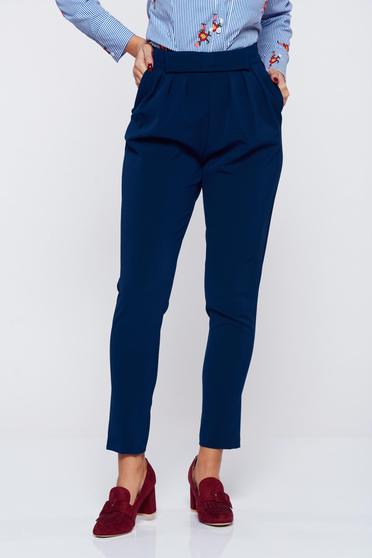 PrettyGirl blue office elegant cloth trousers bow shaped accessory