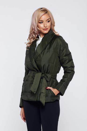 PrettyGirl darkgreen casual slicker jacket with pockets