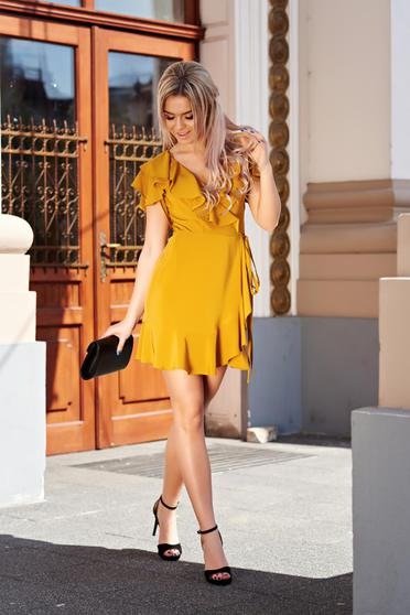 Ana Radu mustard yellow elegant wrap around dress with ruffle details