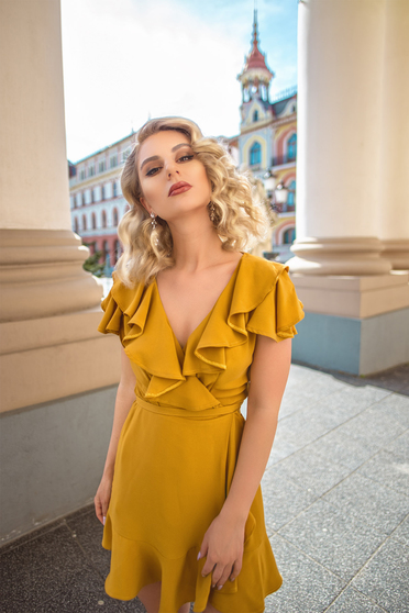 Ana Radu mustard yellow elegant wrap around dress with ruffle details