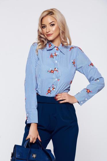 Artista blue office cotton women`s shirt embroidery details