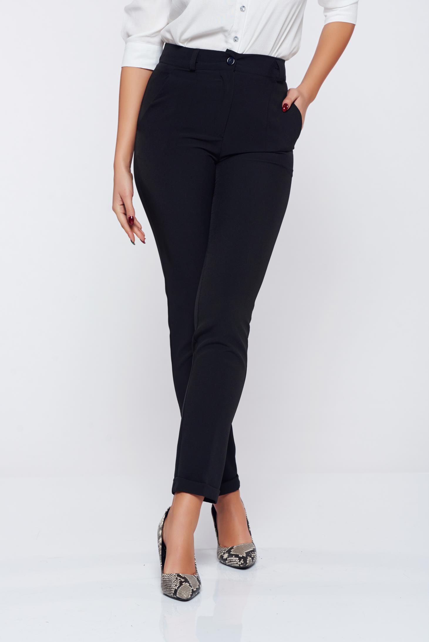 Pantaloni Artista negri office conici din stofa cu talie medie