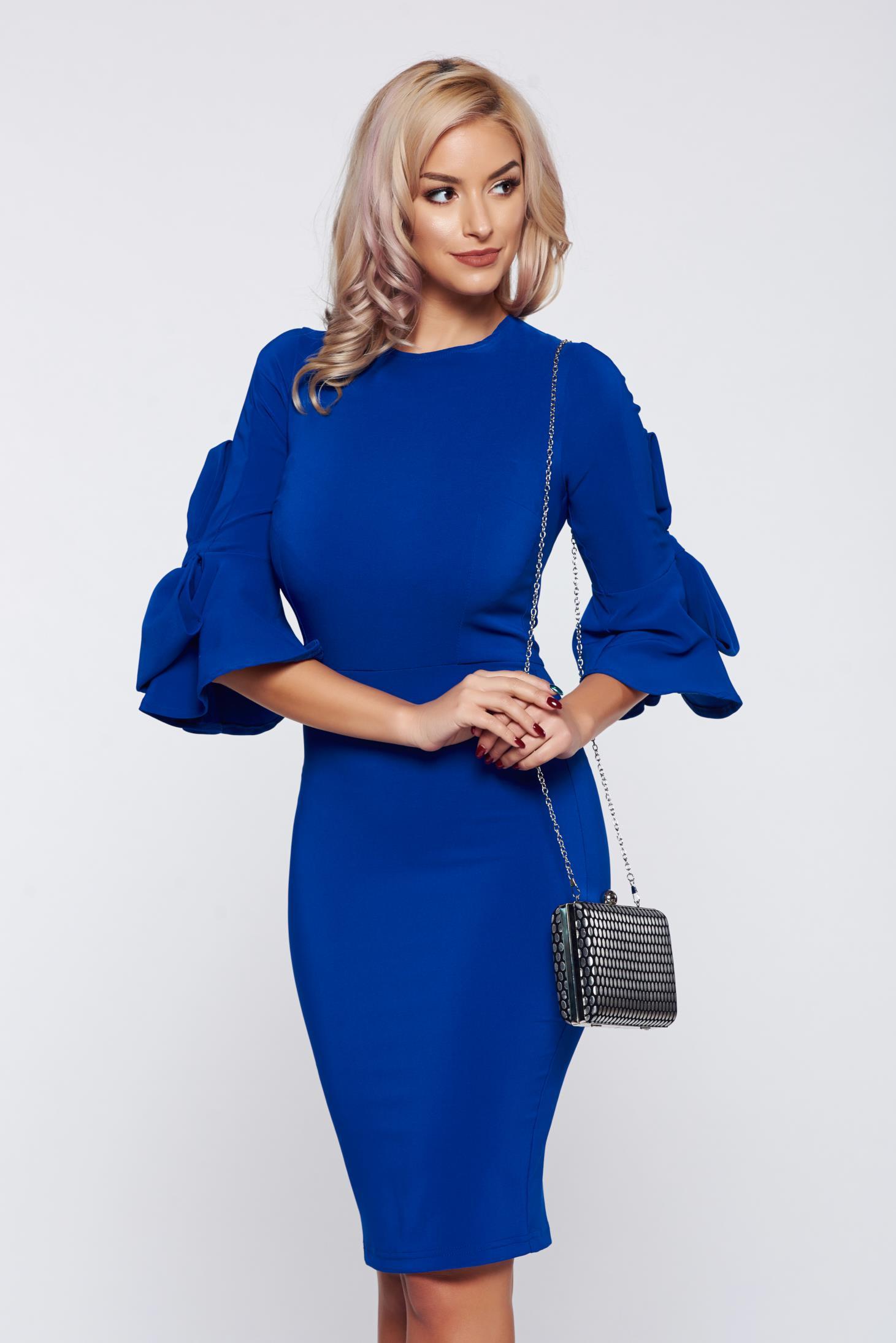 Rochie Artista albastra eleganta tip creion din stofa cu maneci clopot