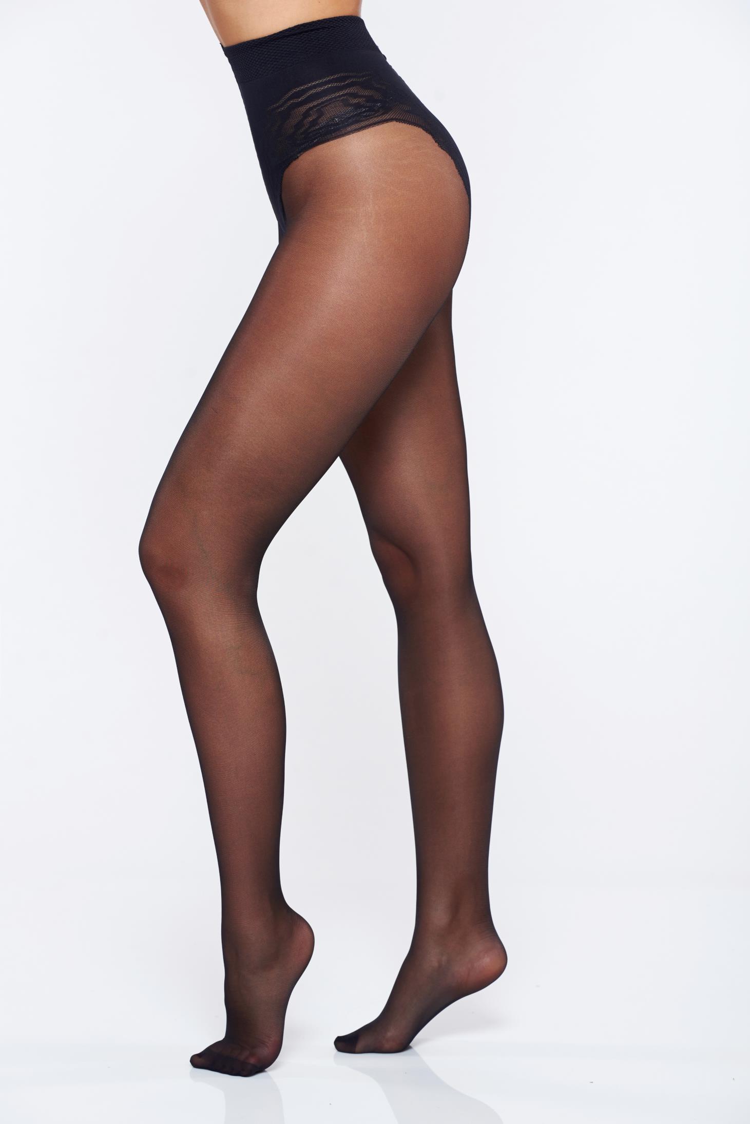 Dres dama modelator negru 20 den calcai curbat cusaturi plate