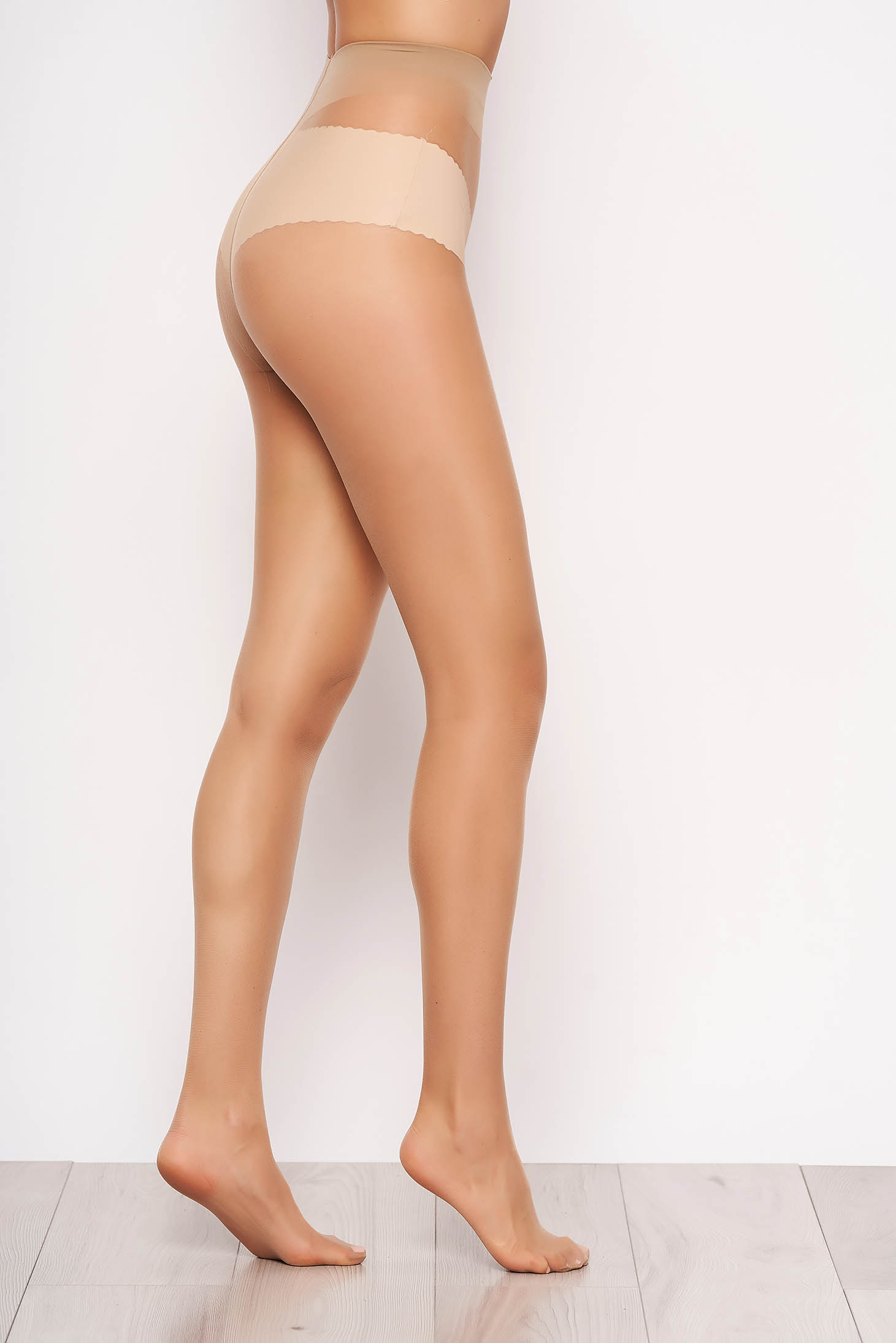 Nude fitted heel 12 den women`s tights from elastic and fine fabric