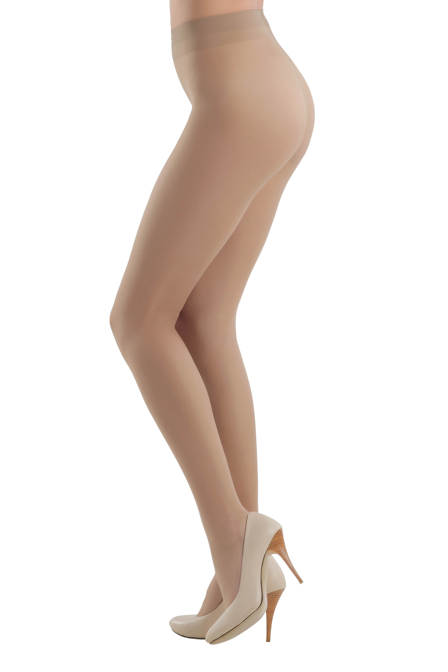 Nude 20 den women`s tights with runstop and flat seam