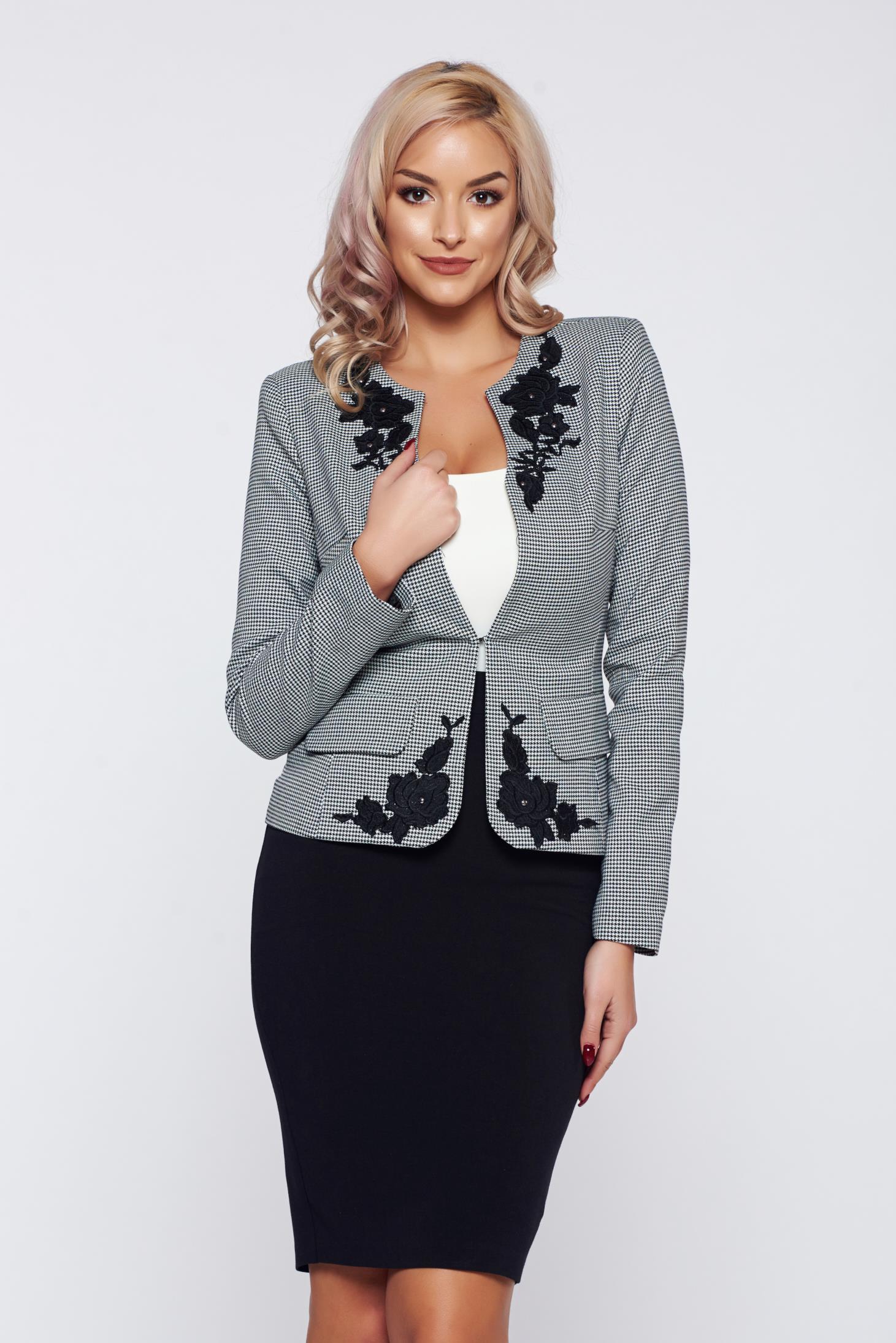 Costum damă LaDonna negru office elegant cu print