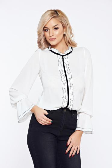 White LaDonna office elegant voile fabric women`s blouse with ruffles on the chest