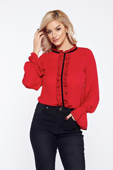 Red LaDonna office elegant voile fabric women`s blouse with ruffles on the chest