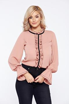Rosa LaDonna office elegant voile fabric women`s blouse with ruffles on the chest