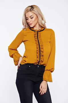 Yellow LaDonna office elegant voile fabric women`s blouse with ruffles on the chest